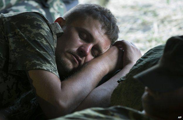 A Ukrainian soldier in the Russian camp near Gukovo, 4 August