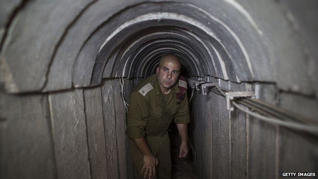 Israeli soldier seen inside a tunnel built underground by Hamas militants leading from the Gaza Strip into Southern Israel