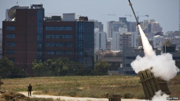 An Iron Dome launcher in action in the southern Israeli city of Ashdod, 11 July 2014