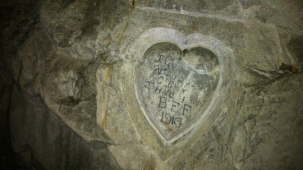 Inscriptions beneath the church at Bouzincourt. 5 Aug 2014