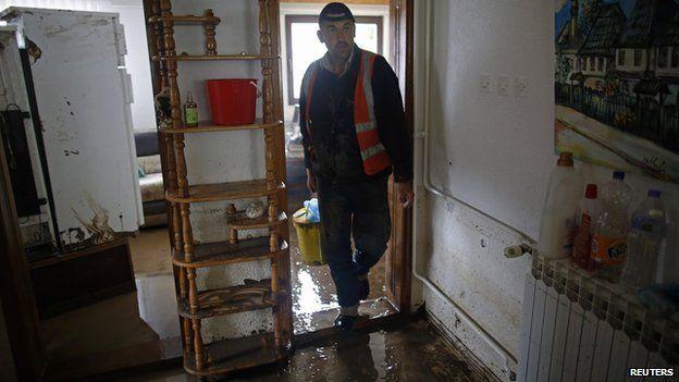 Flood-damaged home near Tuzla