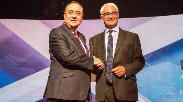 Ailig Salmond agus Alistair Darling