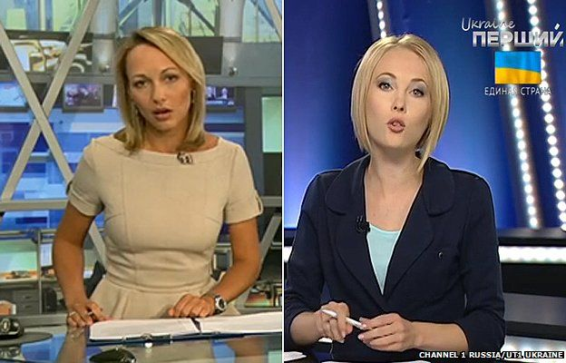 Presenters from Channel One Russia (L) and Channel One Ukraine (composite image)