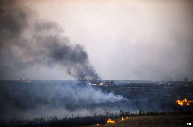 Smoke billows from the wreckage of a Mig-29 jet near Donetsk city, 7 August