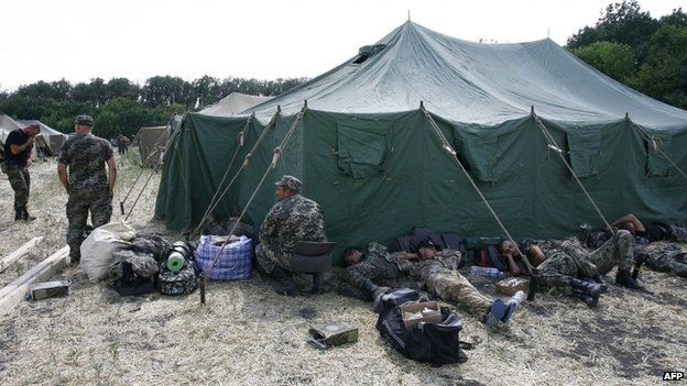 Ukrainian soldiers in a camp near Gukovo, Russia, 4 August