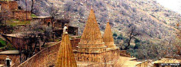 Yazidi temple in Lalesh, Iraq