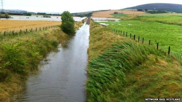 The rail line at Huntly under water