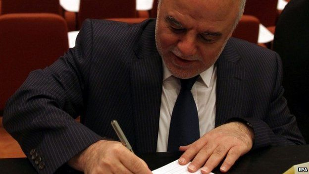 A file picture dated 01 July 2014, showing Iraqi lawmaker Haider al-Abadi