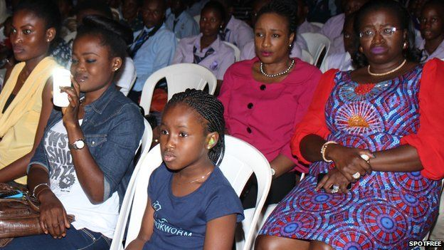 The audience watches the play Missing