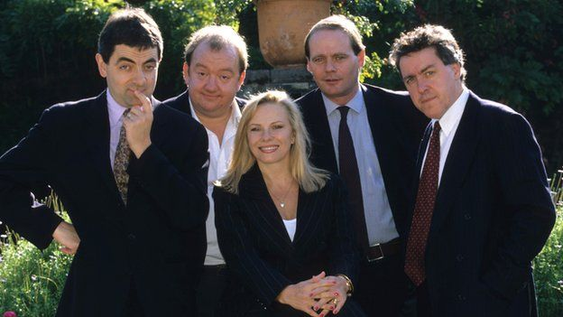 John Lloyd (second right) produced shows including Not the Nine O'Clock News