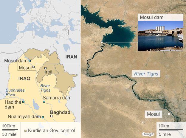Map of Mosul dam, Iraq