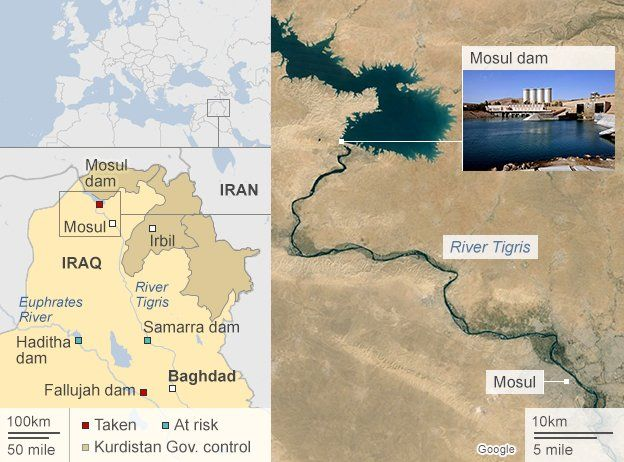 Map of Mosul showing key dams across Iraq (valid on 13 August 2014)