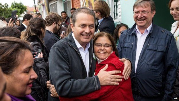 In this July 29, 2014, Eduardo Campos poses for a photo with a supporter during a campaign rally, in Osasco, Brazil.