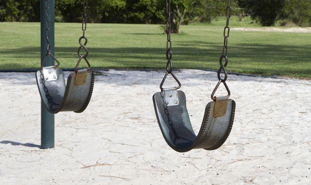Two empty swings