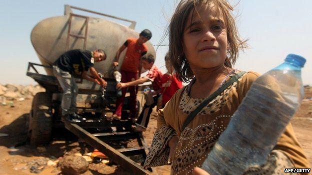 Yazidi child refugee having fled to Syria