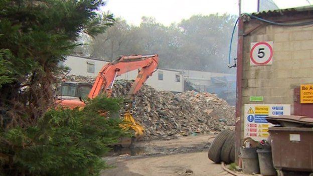Recycling fire in Swindon