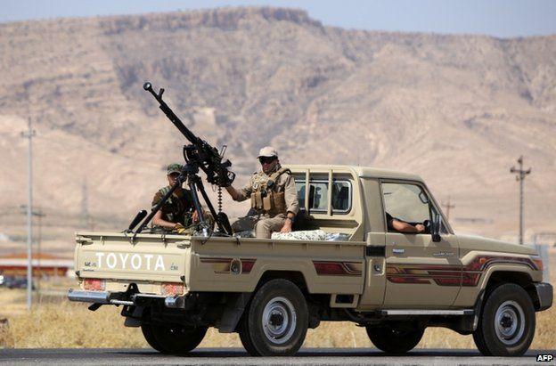 Kurdish fighters head towards Mosul dam, Iraq, 17 August