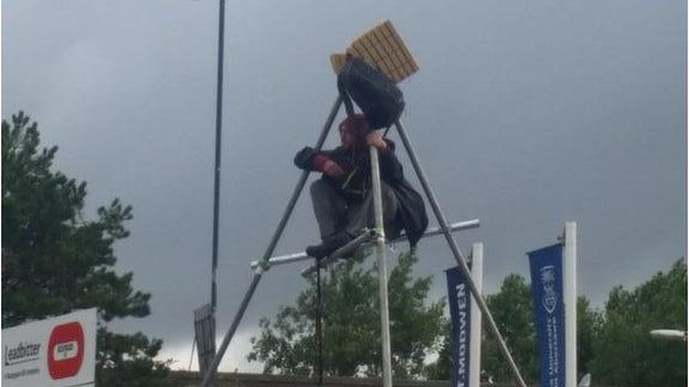 Protester on tripod