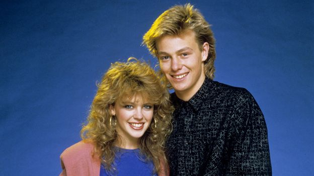 Kylie Minogue and Jason Donovan as Charlene and Scott in Neighbours