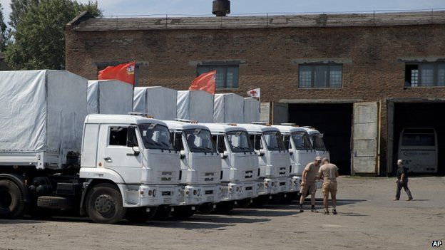Russian lorries waiting outside the Russian town of Kamensk-Shakhtinsky