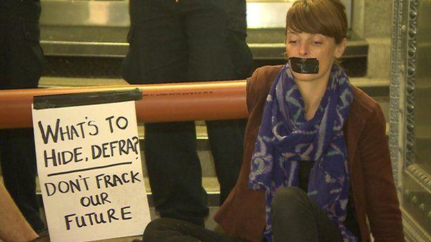 Fracking protester at Defra