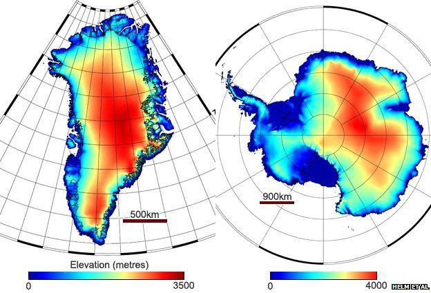 Digital elevation models for Greenland and Antarctica