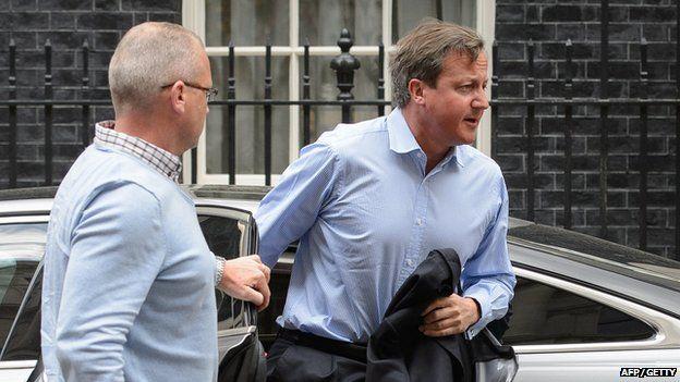 David Cameron arrives at Downing Street