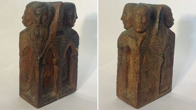 Two carvings made by Arthur Smyth at Ruhleben