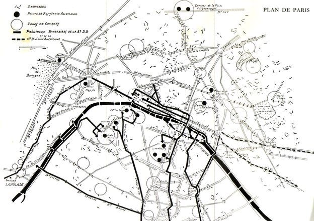 Map of Paris barricades 1944