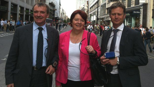 MPs Alan Whitehead, Joan Walley, Matthew Offord with air pollution monitors on Oxford Street