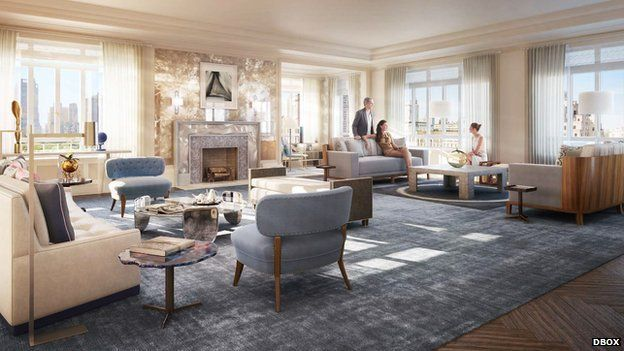 Artists rendering of the penthouse interior for the Carlton House complex under construction