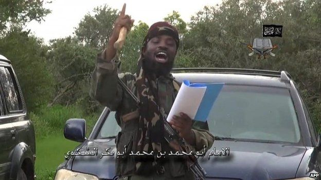 A screen-grab taken on August 24, 2014 from a video released by the Nigerian Islamist extremist group Boko Haram and obtained by AFP shows the leader of the Nigerian Islamist extremist group Boko Haram, Abubakar Shekau, delivering a speech at an undisclosed location.