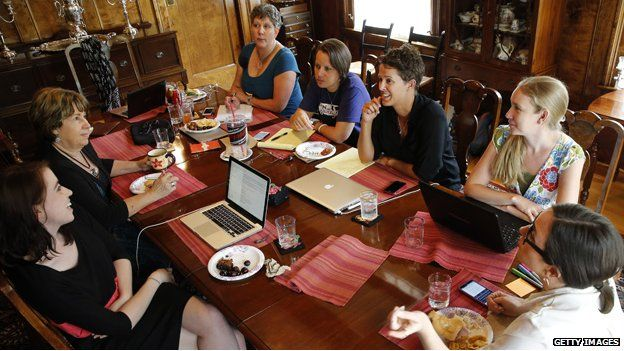 Members of the executive board of Ordain Women hold a strategy meeting