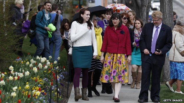Kate Kelly, founder of 'Ordain Women' leads 500 supporters past the world headquarters of the Mormon church to march to Temple Square on April 5, 2014 in Salt Lake City
