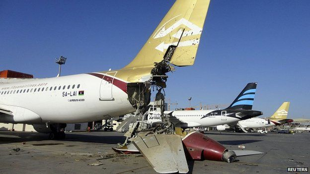 Damaged plane at Tripoli airport. 25 Aug 2014
