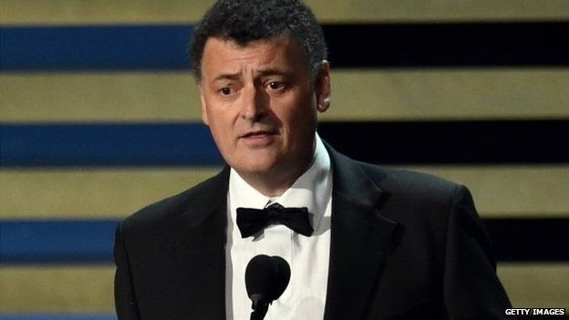 "Writer Steven Moffat accepts Outstanding Writing for a Miniseries, Movie or a Dramatic Special for ""Sherlock: His Last Vow"" in Los Angeles, California, 25 August 2014"