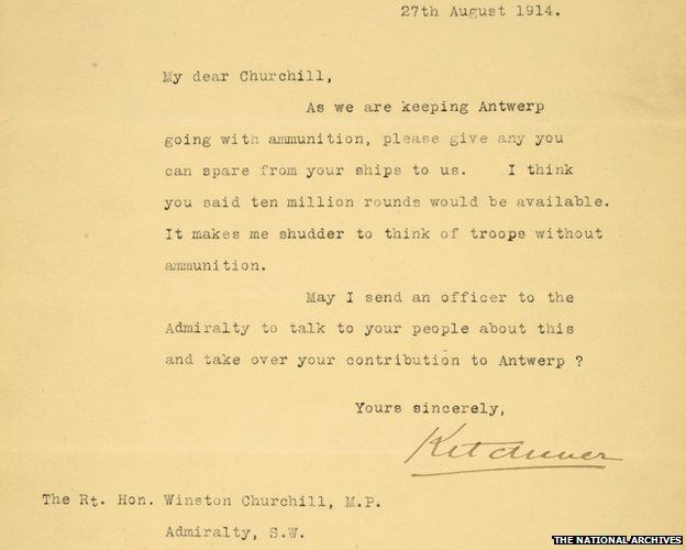 Churchill rejected Lord Kitchener's WW1 ammunition plea, letter