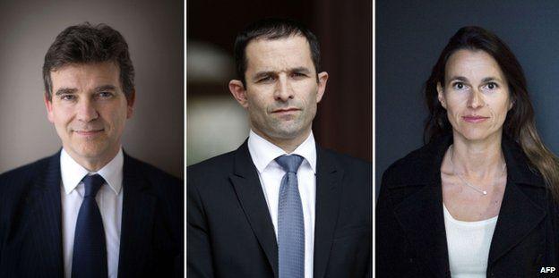 The three main casualties of the reshuffle are Arnaud Montebourg (L), Benoit Hamon (C) and Aurelie Filippetti (R)