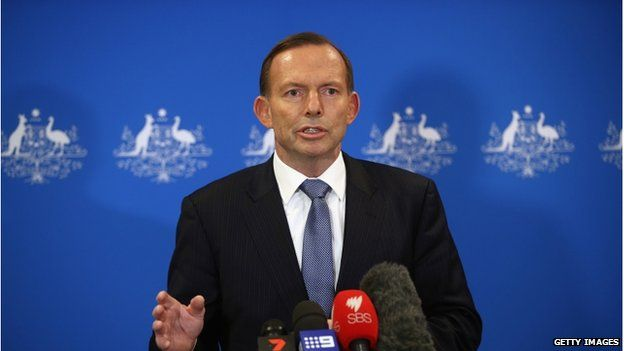 Australian Prime Minister Tony Abbott speaks at a press conference on 12 August 2014 in London, England