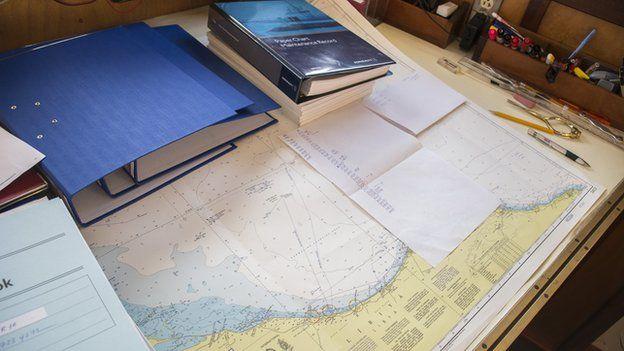 Maps in the ship's bridge