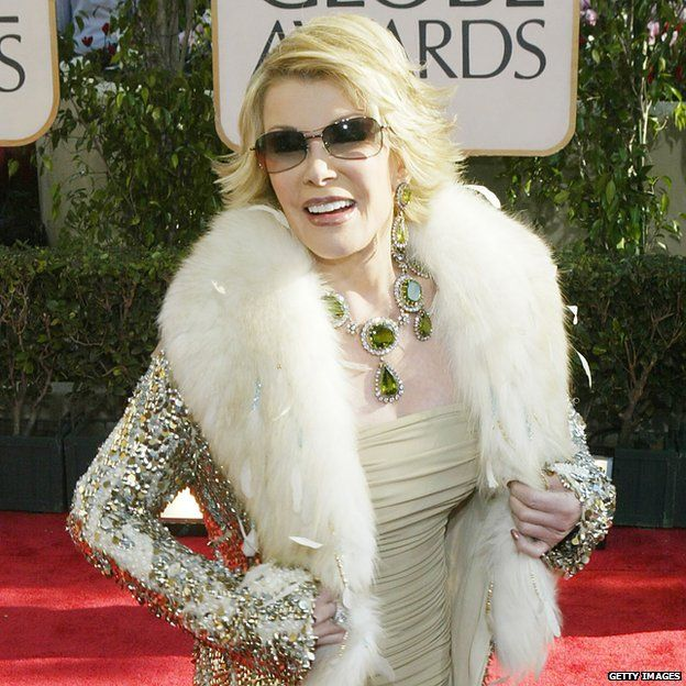 Joan Rivers on the Golden Globe red carpet in 2004