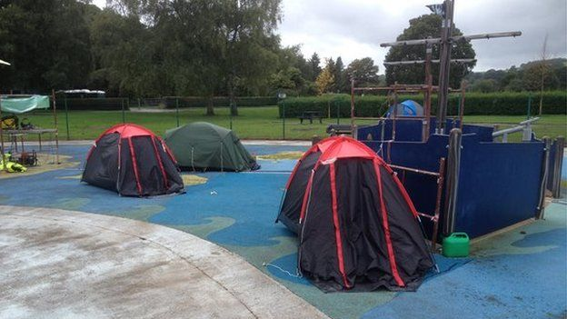 tents at the peace camp in Tredegar Park, Newport.