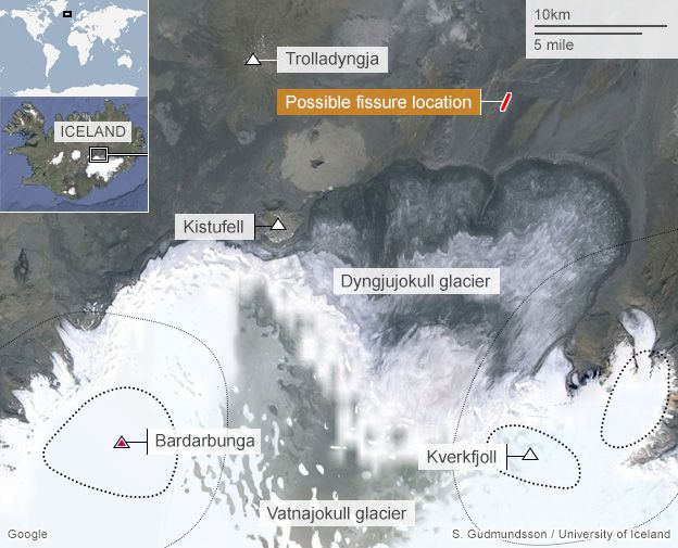 Location of the fissure eruption