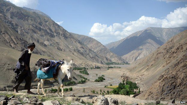 File photo: An Afghan villager uses his donkey to carry aid received from the Afghanistan National Army (ANA) in the Guzirga i-Nur district of Baghlan province on June 8, 2014