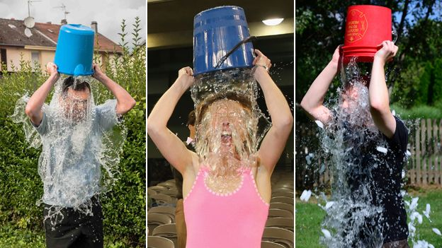 Montage of ice bucket challenges