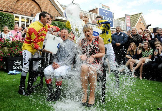 Frankie Dettori and Clare Balding do the ice bucket challenge