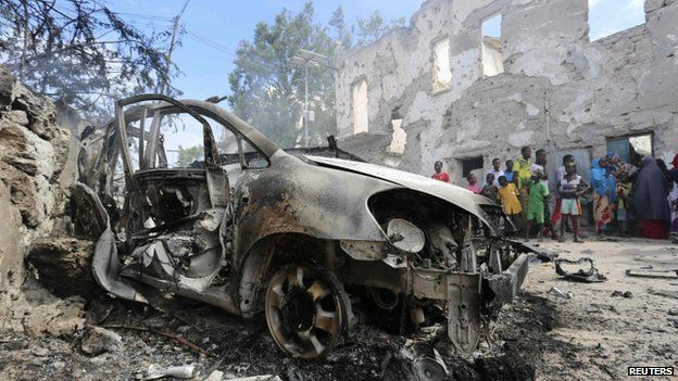 A destroyed car after an attack by militants at the Jilacow underground cell inside a national security compound in Mogadishu (31 August 2014)
