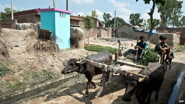 A bullock cart passes by a newly built toilet by NGO Sulabh International at Katra Sahadatgunj village in Badaun on August 31, 2014