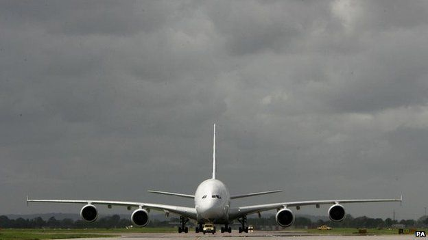 The world's biggest passenger airliner, the giant 555-seater Airbus A380, arrives at London's Heathrow airport