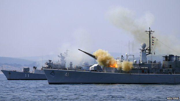 Bulgarian frigate on Nato exercise, 11 July 2014